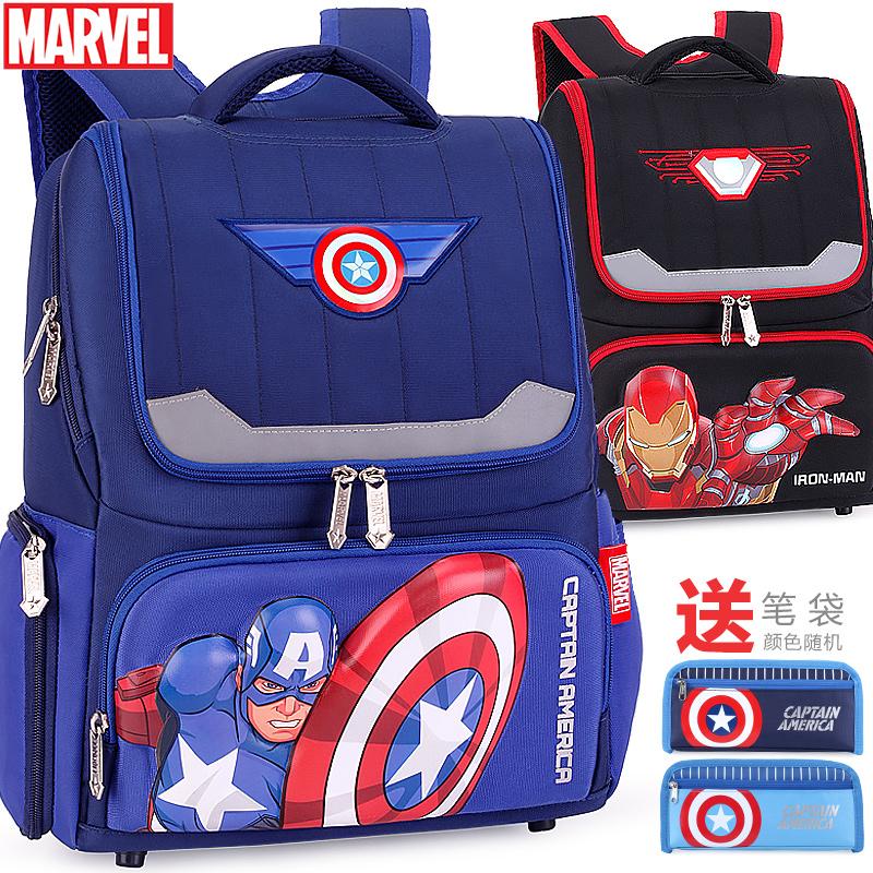 迪士尼小学生书包男童1-3-4年级美国队长蜘蛛侠男孩儿童双肩背包