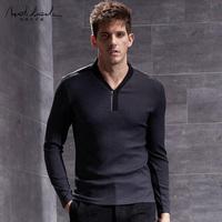 北纬30°男装春季新品长袖T恤男翻领打底衫时尚原创设计师品牌