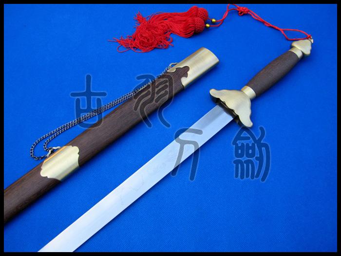 龙泉古羽宝剑  合金鸡翅木太极软剑半硬剑 晨练武术太极剑 未开刃