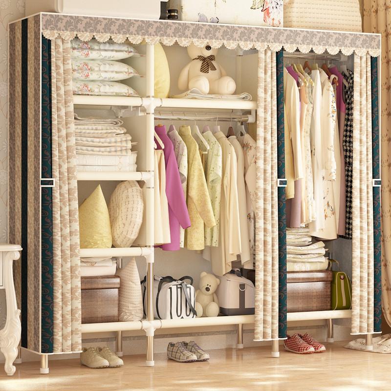 布衣柜简易钢管加粗加固26mm组装牛津布艺单双人收纳衣柜塑料衣橱