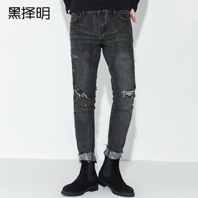 黑择明牛仔裤