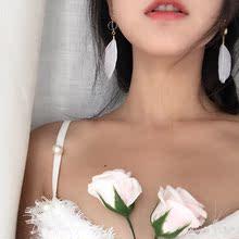 日韩超仙优雅气质百搭水晶羽毛耳环女简约长款耳钉耳夹无耳洞R629