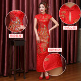 Toast clothing cheongsam summer 2019 new short paragraph Slim red Chinese style wedding dress the bride dress women catwalk