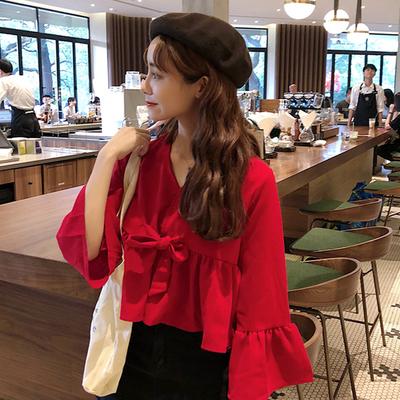 秋季2018新款韩版甜美小清新上衣宽松荷叶边娃娃衫喇叭袖雪纺衫女