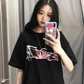 新款 原宿风宽松中长款 黑色短袖 韩版 学生港味上衣女夏装 T恤女ins潮