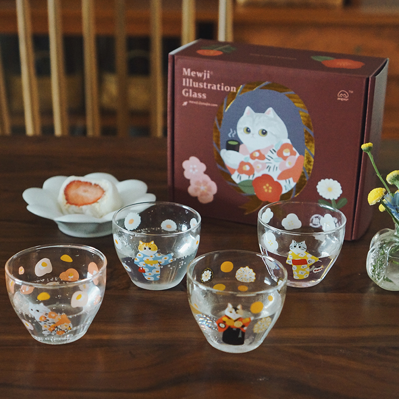 """妙吉MEWJI""""猫之四季""""玻璃杯,送闺蜜可爱实用礼物"""