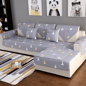 全棉沙发垫四季通用布艺纯棉灰色沙发坐垫简约现代北欧沙发巾套盖