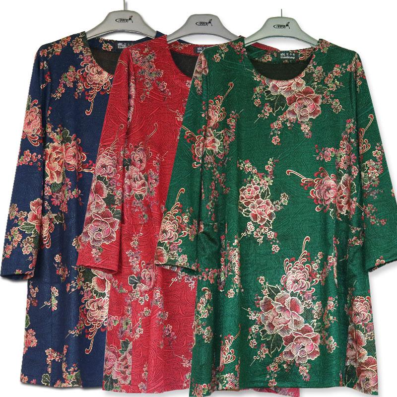 2018春装新款6XL特大码妈妈装中老年女装加肥加大200斤中长袖T恤