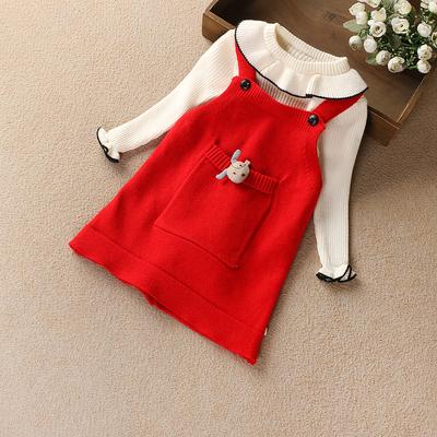 童装秋冬装2018新款女童毛衣裙子儿童长袖毛衣搭配背带裙套装套裙