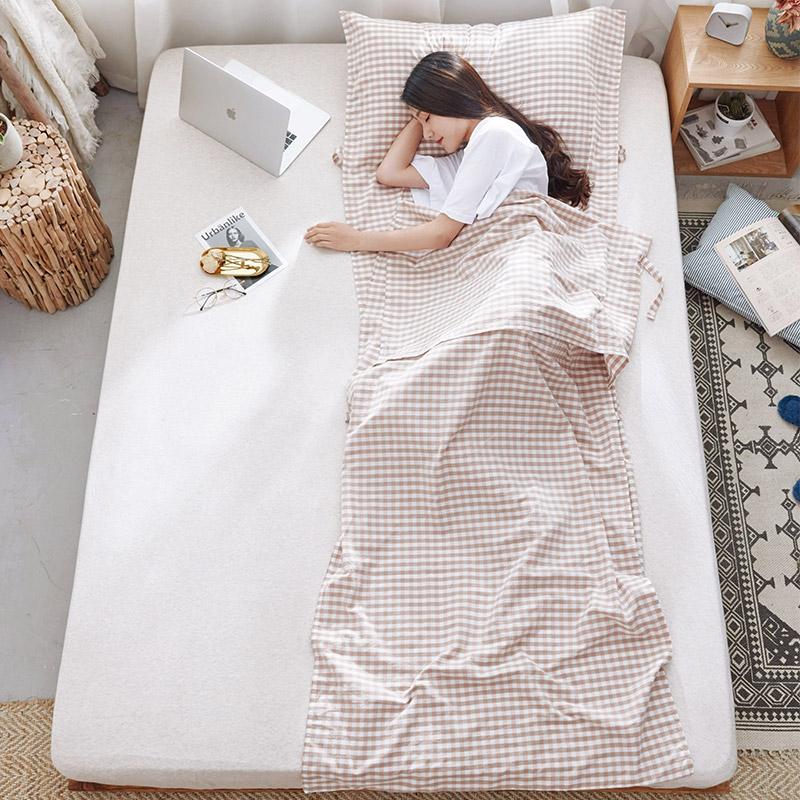 纯棉水洗棉单人旅行睡袋宾馆酒店民宿隔脏床单便捷式双人出差轻薄