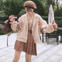 【森女想去海边】熊吃饼干可爱软妹复古秋冬少女套装