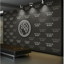 现代时尚黑色抽象花卉壁纸定制无缝墙布壁画背景墙纸陌上花艺速