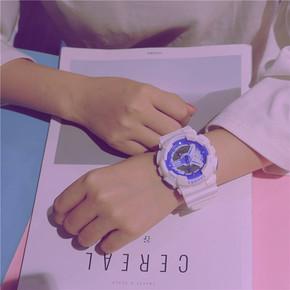 工作考试白色女式学生表青少年电子表黑盘手表天蓝数字式手表彩色