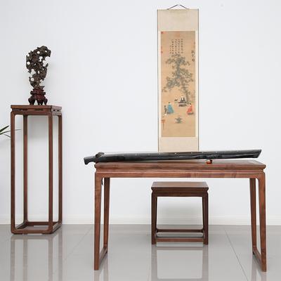 老榆木古琴桌凳实木新中式仿古明式古筝桌子榫卯结构家具免漆琴桌