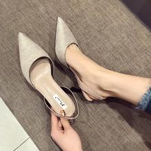 后绊带工作鞋 气质名媛淑女高跟鞋 尖头高跟女凉鞋 2018年春季新款