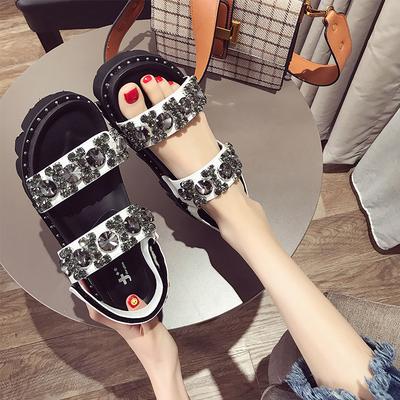 18夏季新款露趾女凉鞋厚底松糕底显瘦女鞋闪亮水钻中跟鞋学生鞋