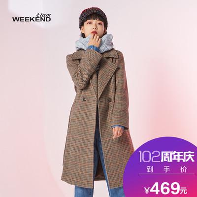艾格Weekend千鸟格个性复古格纹中长款毛呢大衣女8A023405399