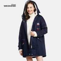 艾格 Weekend冬季卡通贴布中长款棉服女160232024