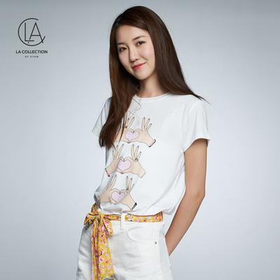 艾格LACOLLECTION2018夏季女印花圆领短袖T恤衫8E012806686