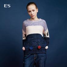 艾格ES春季休闲印花毛球圆领套头针织衫毛衣女16031712095图片