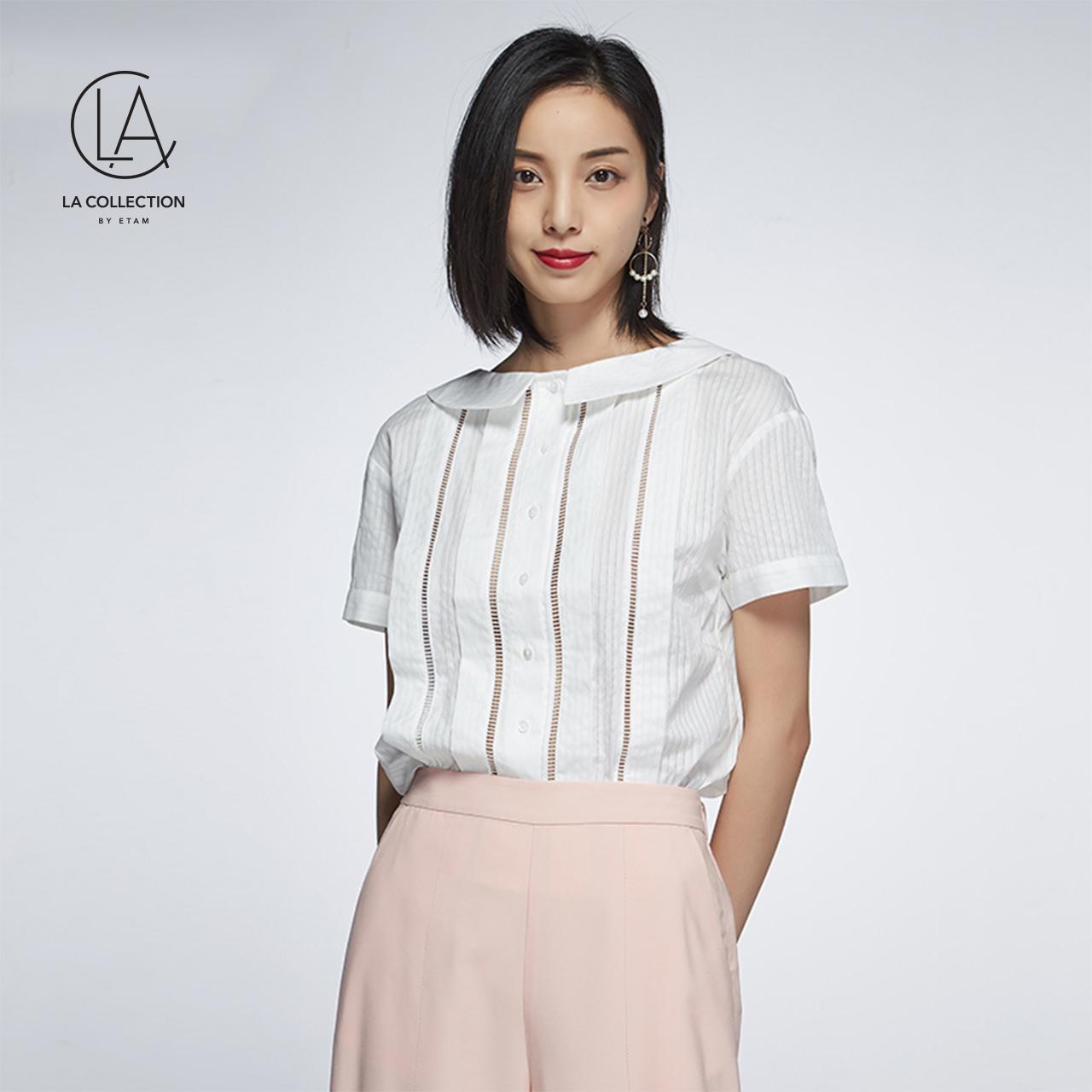 艾格LA COLLECTION2018夏新款女纯色镂空短袖休闲衬衫8E011406280