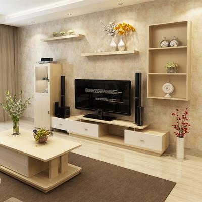 白枫木北欧简约电视柜背景墙柜组合柜可伸缩实木颗粒挂柜隔板原木哪个好