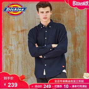Dickies法兰绒长袖衬衫 纯色休闲领口纽扣男式衬衣 183M20EC12
