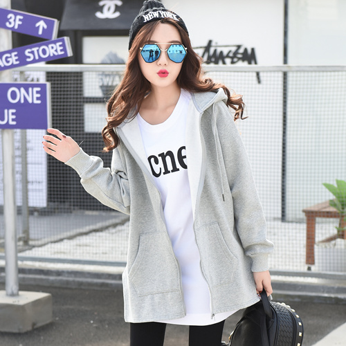 卫衣女学生春秋韩版bf百塔宽松带帽加厚chic中长款加绒冬季外套衫
