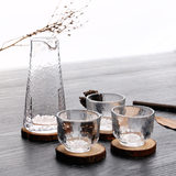 Japanese Hand-made Lead-free Glass Liquor Set Household Hammer Sake Bottle, Ice Wine Warmer, Yellow Wine and Liquor Cup