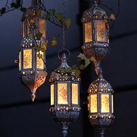 柔软时光 摩洛哥创意铁艺烛台吊灯工艺品摆件玻璃个性家居装饰品