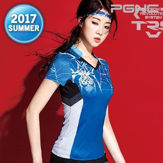 佩极羽网 羽毛球服女 圆领短袖上衣运动羽毛球服蓝色修身FST-630