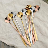 Gold-plated stainless steel cherry blossom long handle stirring spoon Japanese rose love flower petals coffee spoon
