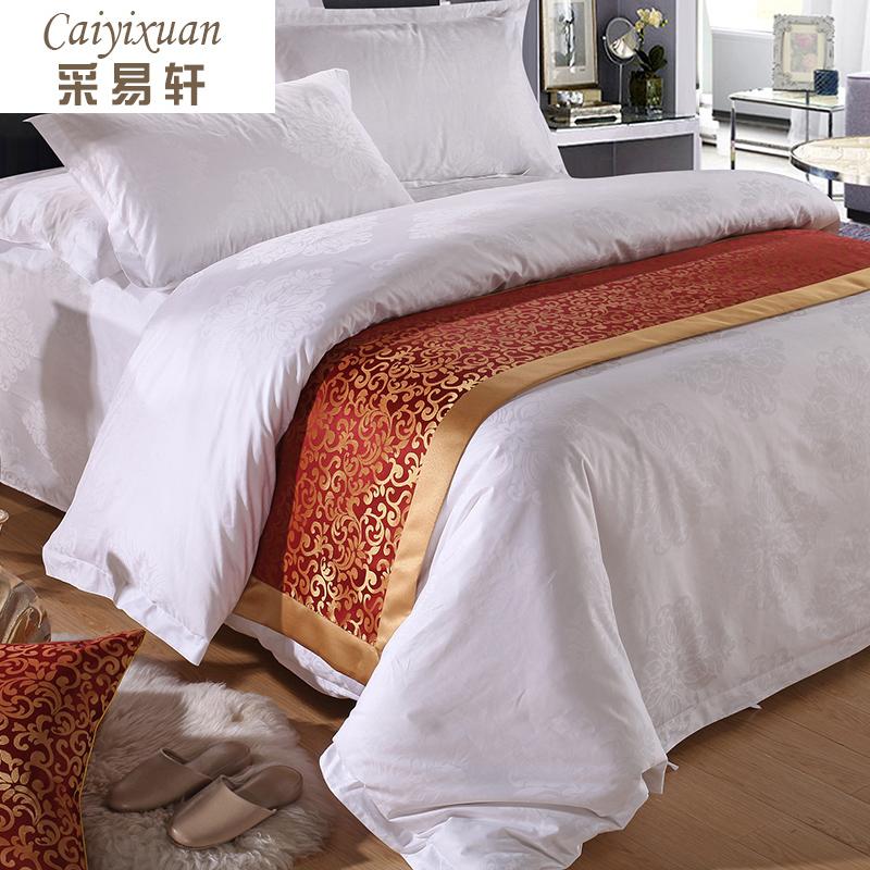 采易轩五星级酒店床品装饰床尾巾单件可水洗欧式宾馆立体花纹床旗