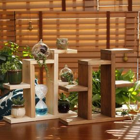 香杉木花架桌面多肉小花架办公室窗台架桌上迷你置物架实木盆栽架