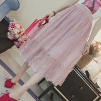 春季新款名媛淑女钉珠网纱半身裙中长款高腰显瘦蕾丝A字裙梦幻裙