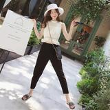 夏2018新款时尚无袖雪纺套装女精神范休闲小脚萝卜裤子社会两件套