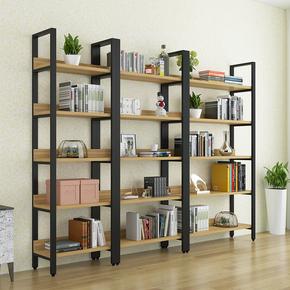 特价钢木书架 简易铁艺多层置物架简约客厅架落地组合货架 展示架