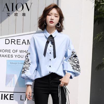 韩版宽松百搭刺绣蝙蝠袖领结系带衬衫大袖子长袖衬衣上衣女学生潮