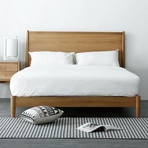 麦迪床北欧原木床现代简约1.5米1.8米日式风格主卧双人橡木实木床