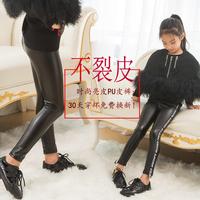 女童皮打底裤加厚冬季