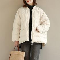 小立领短款羽绒服宽松休闲百搭文艺大码女装简约纯色保暖夹克外套