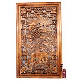 Dongyang woodcarving camphor wood rectangular pendant hollow decoration Fu Lu Shouxi ornaments solid wood carving