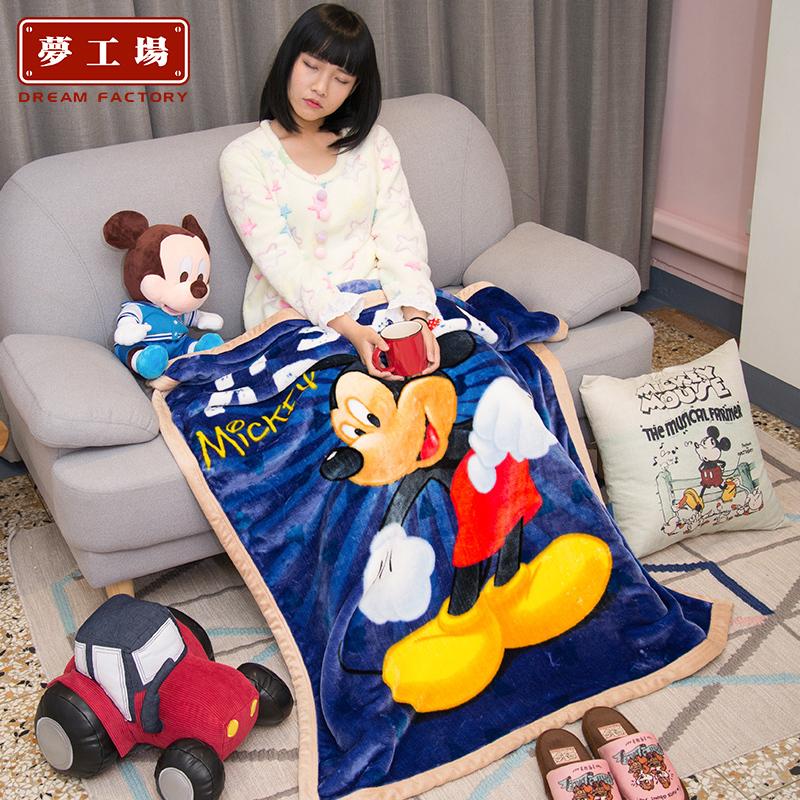 迪士尼儿童毛毯春秋卡通珊瑚绒沙发毯幼儿园午睡小被子法兰绒盖毯