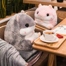 仓鼠三合一儿童午睡小枕头抱枕被子两用女个性毯可爱多功能暖手男