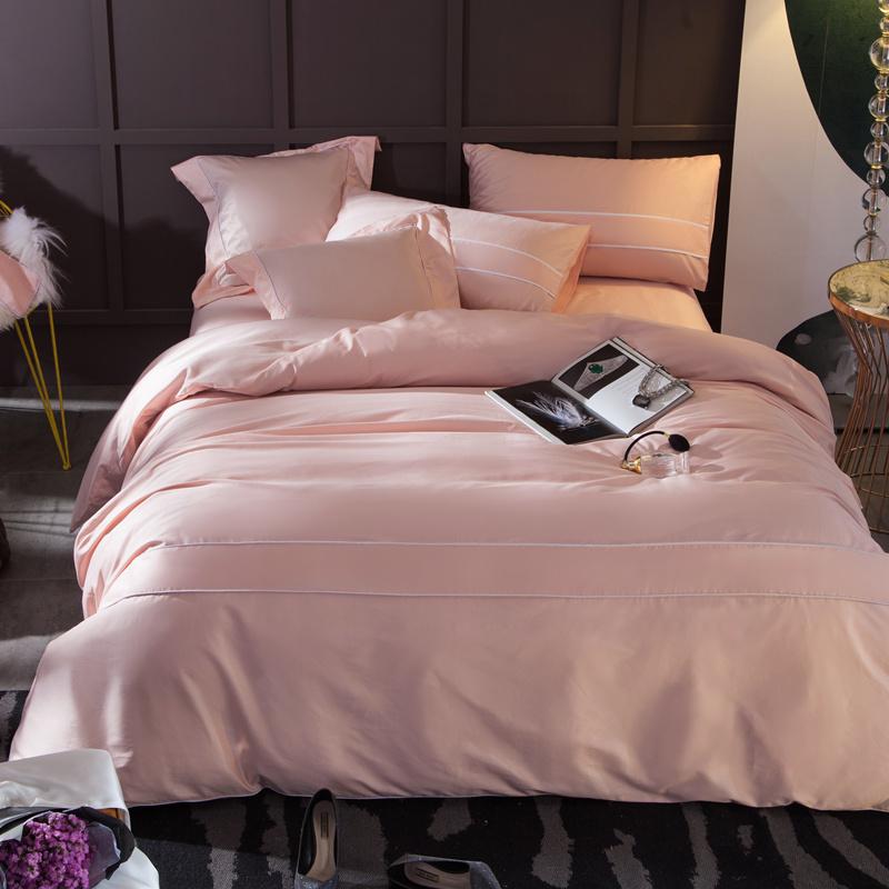 实拍正品纯色60支纯棉贡缎长绒棉刺绣四件套全棉简约床上用品被套