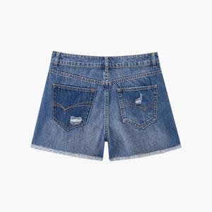 2018爱居兔夏季新款女装磨边破洞设计牛仔短裤