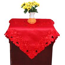 喜庆红色床头柜盖布方巾电冰箱电视防尘罩布艺结婚庆床柜罩床头布