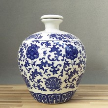 5 jin, 10 kilograms of Jingdezhen blue and white porcelain pottery bottle, wine altar, small mouth empty wine pot, sealed wine can five kg.