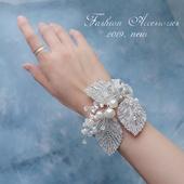 高端婚礼奢华新娘手腕花银色唯美超闪亮高档手花腕饰叶子水钻胸花