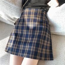 百搭chic高腰显瘦A字包臀短裙学生 复古格子半身裙女2019春季韩版